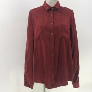 umgee button up shirt sz L Large maroon silky feel